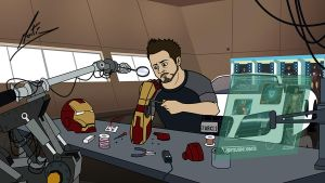 Tony Stark Cartoon by MMystery92
