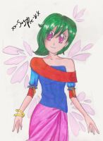 .: green haired girl with petals behind her :. by ARSugarPie