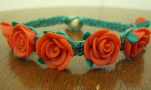 Red Rose Hemp Bracelet by ReezaJoy