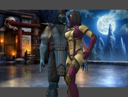Mileena and Sub-Zero by FanOfMileenaMK
