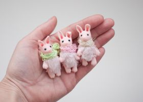 pink clay bunnies by freedragonfly