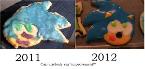 Sonic the Colored Cookie Comparison by rainbar