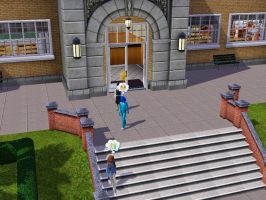 Sims 3 - Denise and Annasophia walk out of school by Magic-Kristina-KW