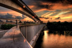 Sunset at a Bridge. by noisereduction