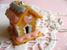 Lolita gingerbread house necklace by virahandmade