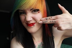 Self shot girls gun sign pic by CupCakeMonsterCrafts