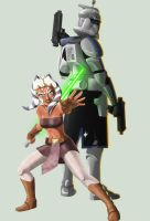 Ahsoka and Rex, WIP cover by Jonboy2312