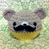Fancy Mustache Gray Cupcake Bear by amigurumikingdom