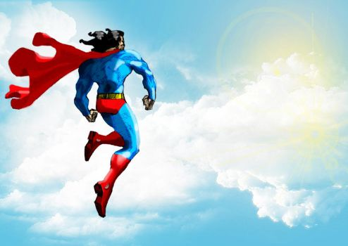 Superman facing Sun by Abstraq