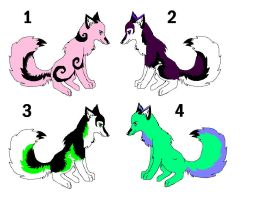 Adoptable wolves or huskey by aquaheartthecat