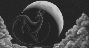 Floating Under a Crescent Moon by TechnologicBookwyrm