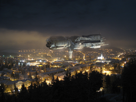 Sulaco above my hometown 2 by alien99