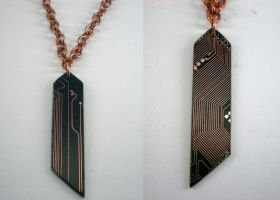 Circuit Board Necklace - 3 by jupiter-storm