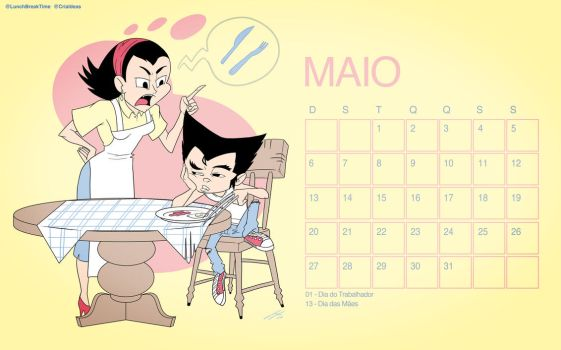 Calendario Maio LunchBreakTime by LunchBreakTime