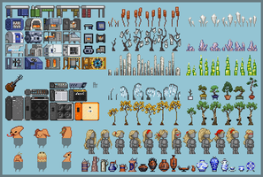 Pixel Art Overview for Portfolio (starbound mods) by art-anti-de