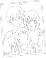 Kirito,Asuna and Yui Lineart by Mastemrine