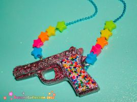 Candy Pop Resin Gun Necklace by squeekaboo