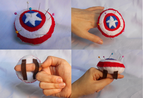 Captain America Shield Felt Pincushion by ReimagineCosCraft