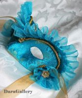 Blue Ruffle Masquerade Mask by DaraGallery