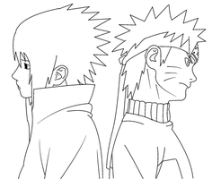 Naruto and Sasuke LINEART by Kang1223