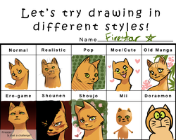 Different Styles Meme: Firestar by TigerMoonCat