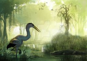 Blue Heron Morning by Robobeer