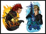 Axel and Demyx Badge Set by psycrowe