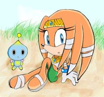 Tikal at the beach by LolatheHedgehog
