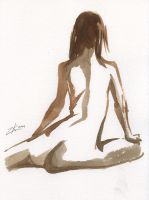 Seated Female Nude No. 1 by zacharyknoles
