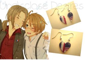 APH - France x America - Half Heart Earrings by Undisclose--Desires