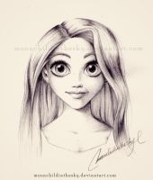 Rapunzel Portrait BnW by MoonchildinTheSky