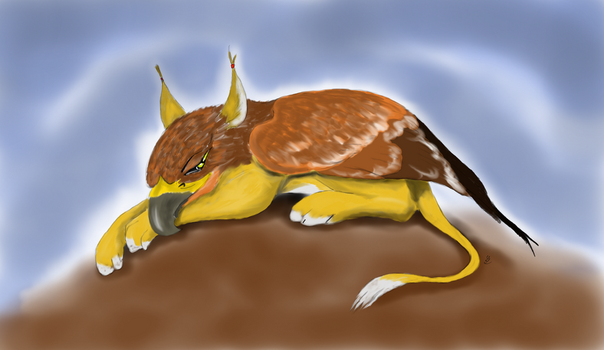 Resting Gryphon by Borovous