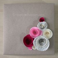Large Origami Box with Rolled Paper Flowers by bicyclegasoline