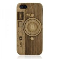 Hand Carved Camera Walnut iPhone 5 Case -M9 by tracylopez