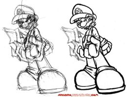 Mario - Sketch to Ink by ArcZero