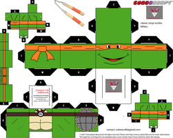 classic Ninja Turtles Mikey cubee template by lovefistfury