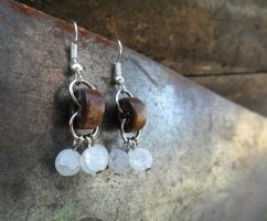Wood Link and Triple Quartz Charm Earrings by spiritualturtle
