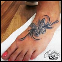 Florarl and butterfly by CAMOSartTATTOO