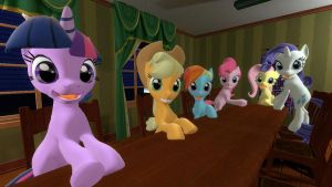 The Mane Six Are Ready For Hearth's Warming Dinner by ZooWeeMama92