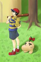 Ness and Mr. Saturn by Peachy-chan