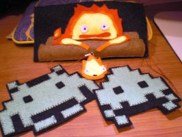 Calcifer vs Space Invader felt handmades by JoshikoseiSnak