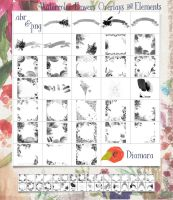 Watercolor Flowers Overlays and Elements by Diamara