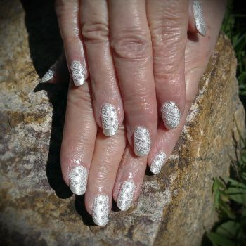 20150404 - White Lace Stamping on Pearl w Pearls by m-everhamnails