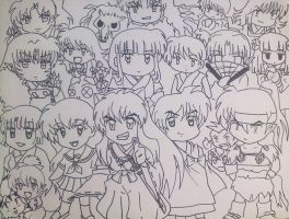 Inuyasha : Chibi Line art Collection by spogunasya