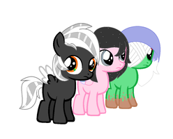 Whitewing, Ebony Blossom And Muddy by usagiemiller