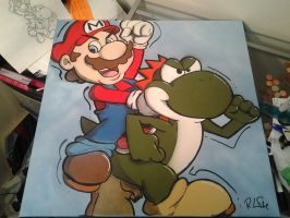 STENCIL PROJECT- Mario and Yoshi by GK2000