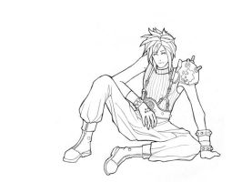 FFVII Cloud Lineart by K-i-s-s-h-u