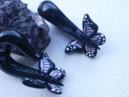 Butterfly Earrings Fake gauge polymer clay by cashewed-almonds