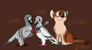 Gwen Gale and Cosmo ref sheets by KeroseneCanine