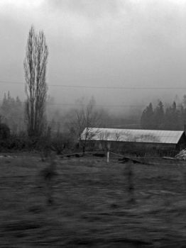 Strange low house in the mist by Christina123